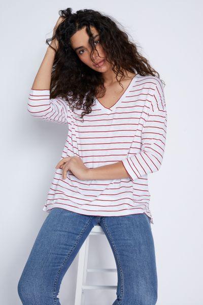 3/4 Sleeve Red Stripe T-shirt