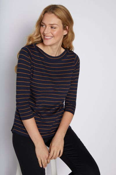 Navy Stripe Envelope Neckline Top