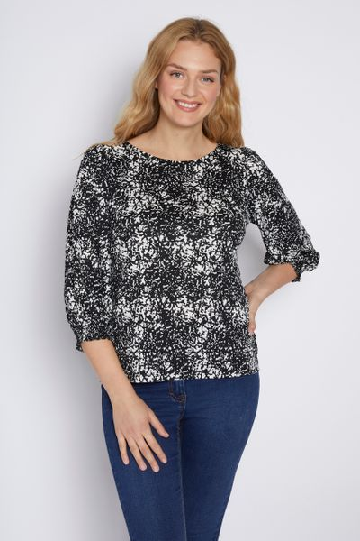 Wild Print Puff Sleeve Top