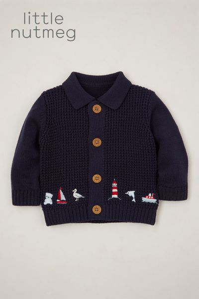Little Nutmeg Embroidered Bear cardigan