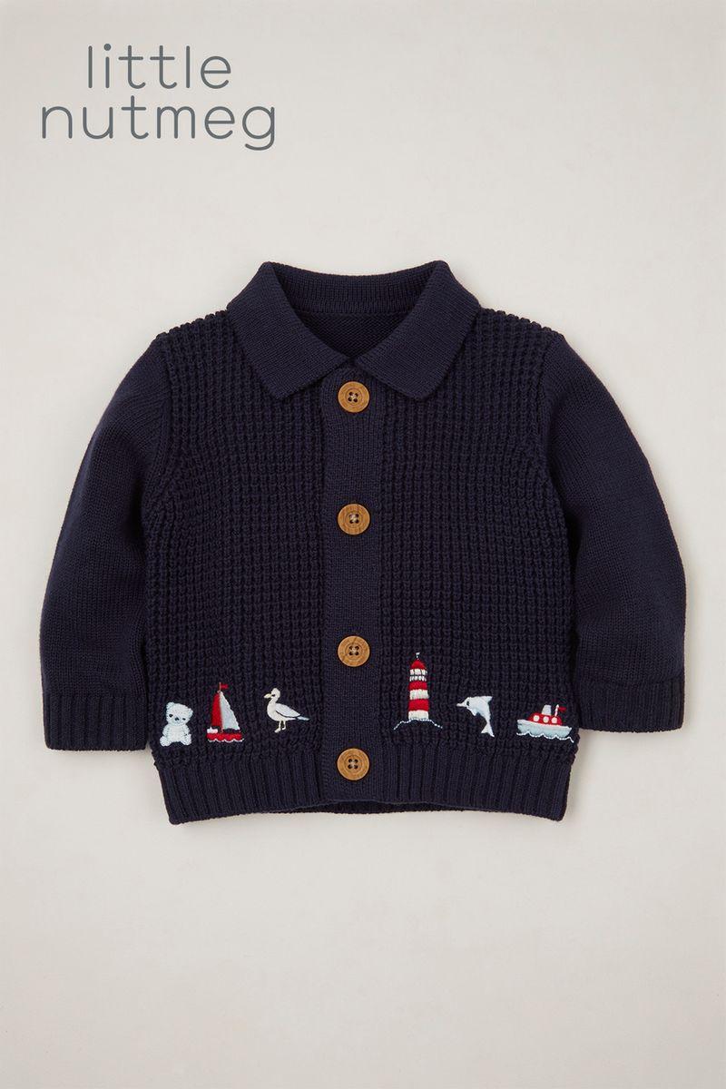 Little Nutmeg Embroidered Bear cardigan