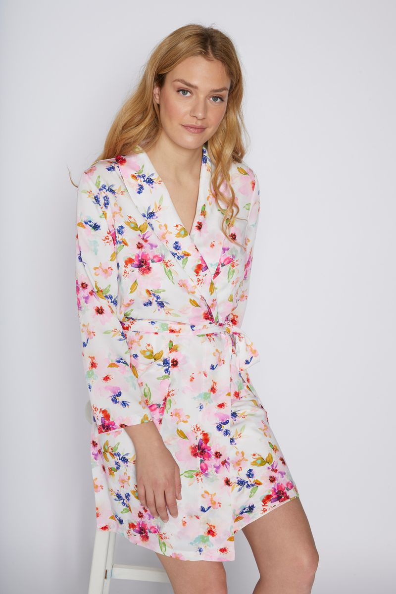 Silky Floral Dressing Robe