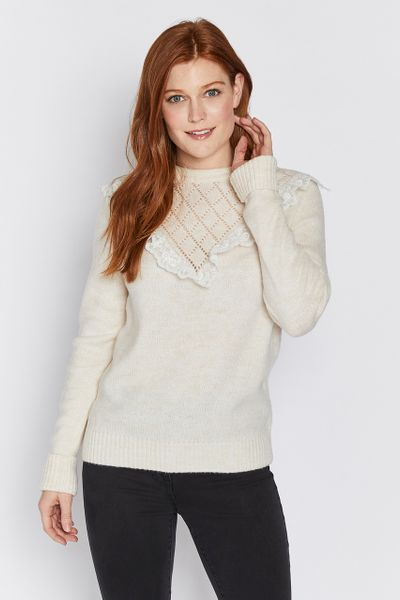Cream Ruffle Detail Jumper