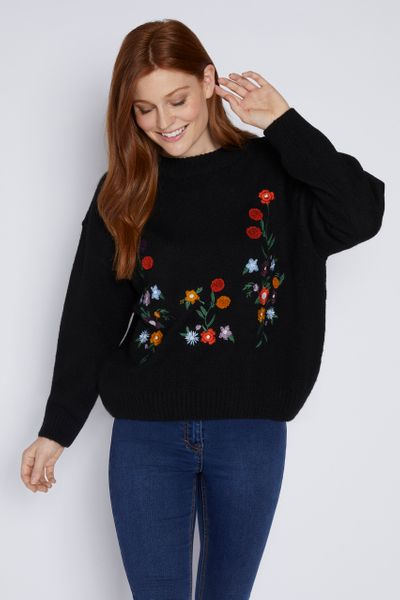 Black Embroidered Jumper
