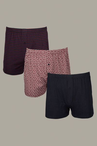 3 Pack Paisley Stripe Boxers
