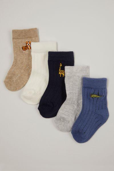 5 Pack Tiger Ribbed socks