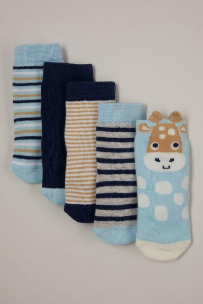 5 Pack Blue Giraffe socks