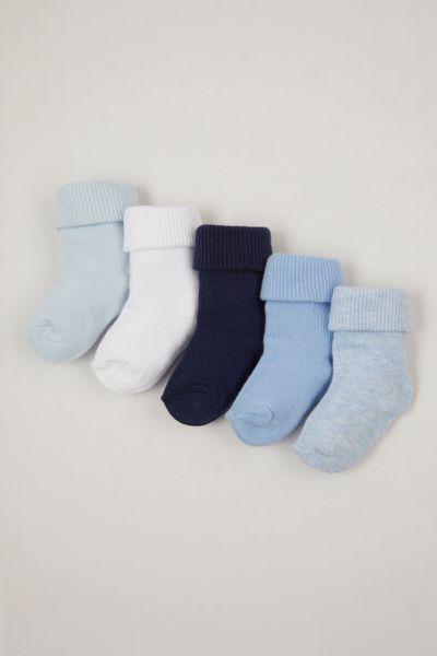 5 pack Blue turn over socks