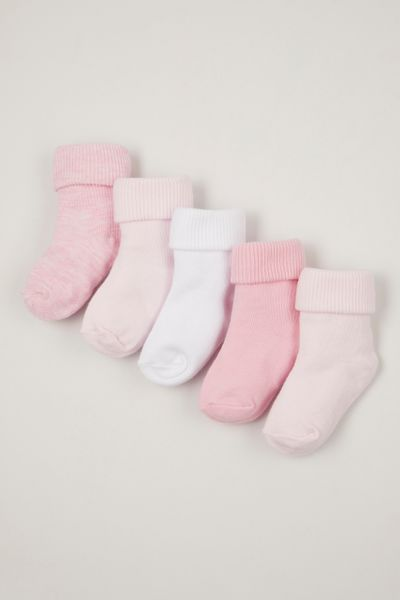 5 pack pink turn over socks