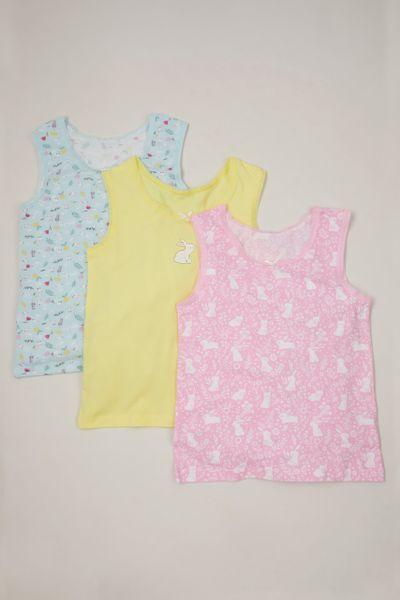 3 Pack Bunny Floral Vests