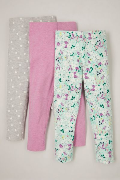 3 Pack Mint Flower Leggings