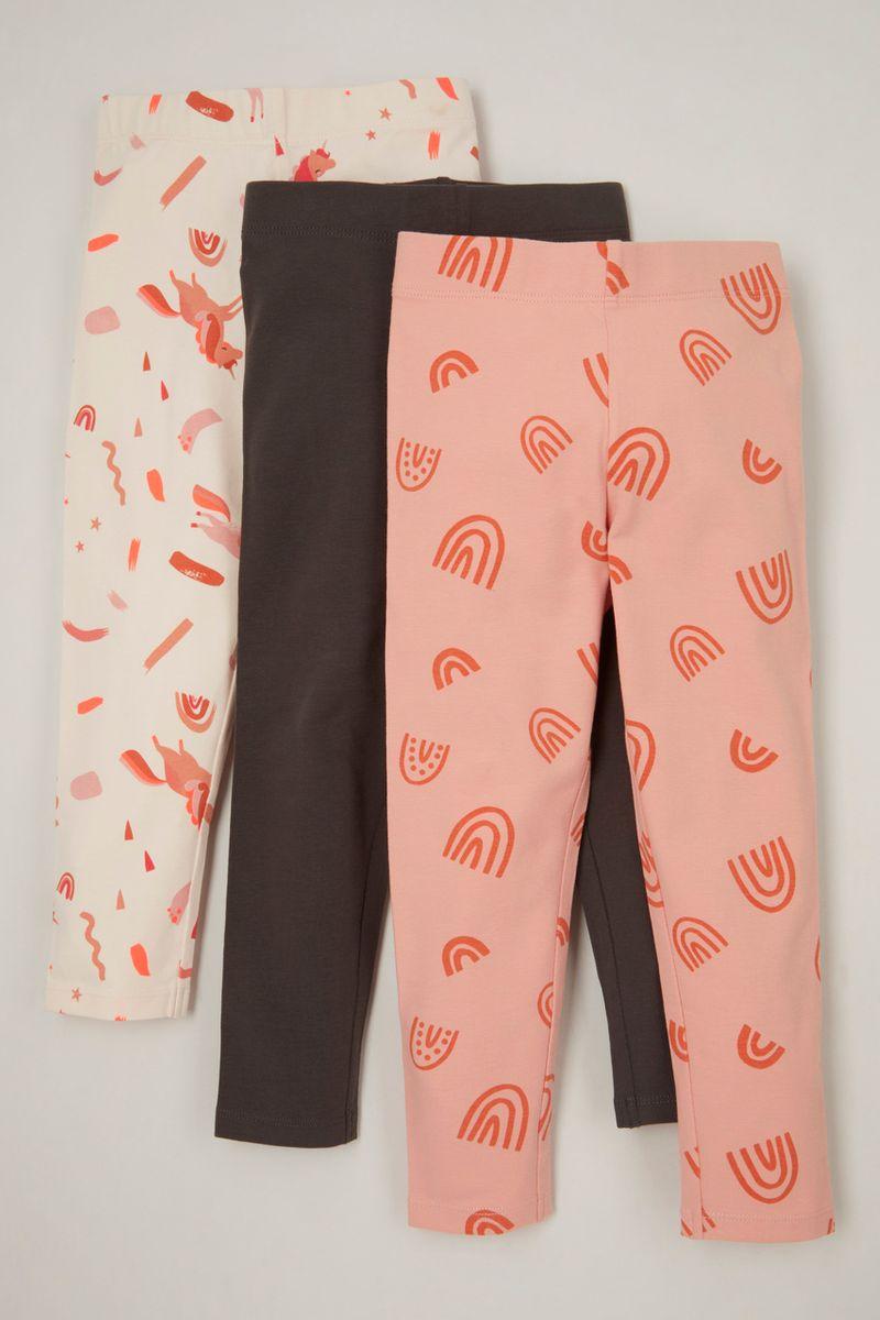 3 Pack Pink Rainbow Leggings