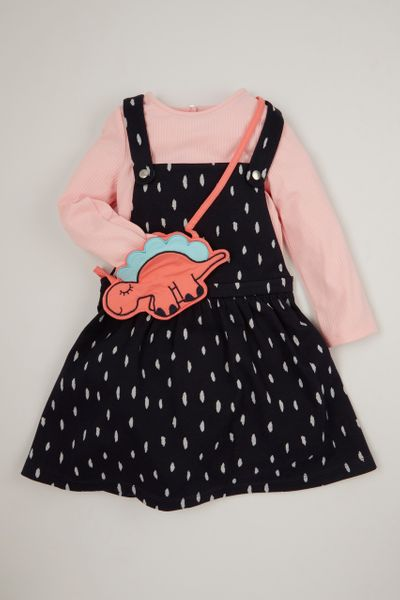 Jersey Pinafore Dress & Dino Purse