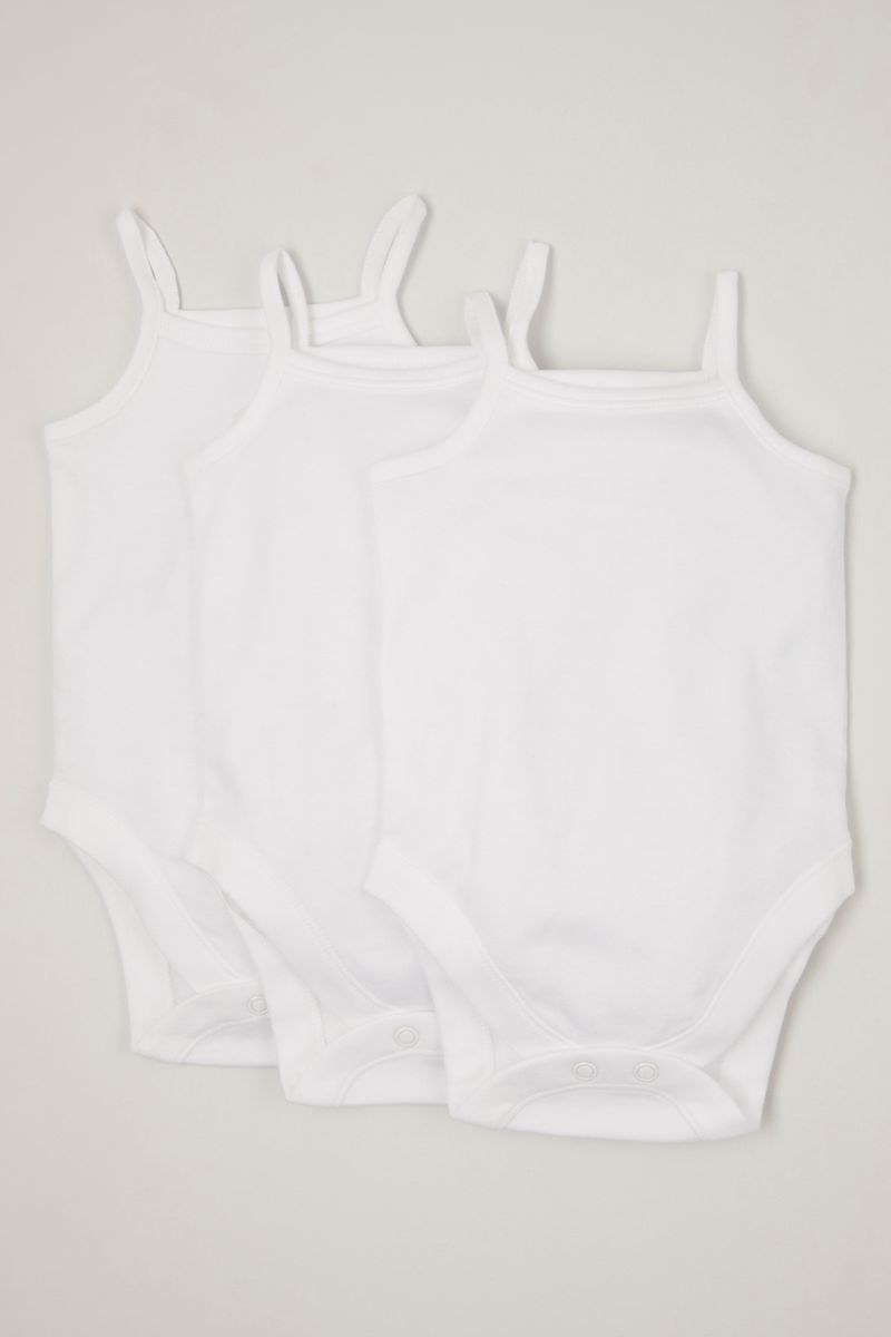 3 Pack White Strappy bodysuits