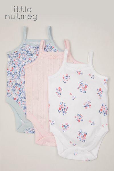 Little Nutmeg 3 Pack Flower Vest bodysuits