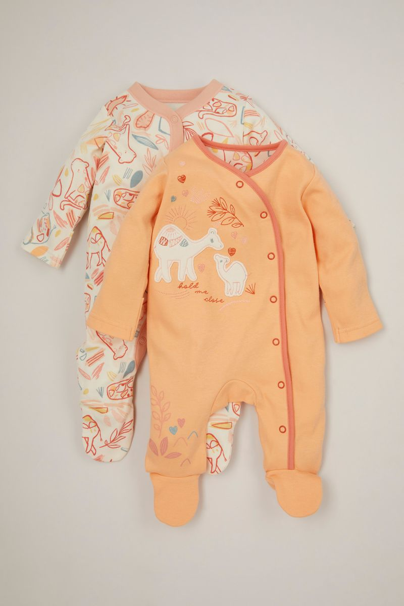 2 Pack Mummy Camel & Baby sleepsuits
