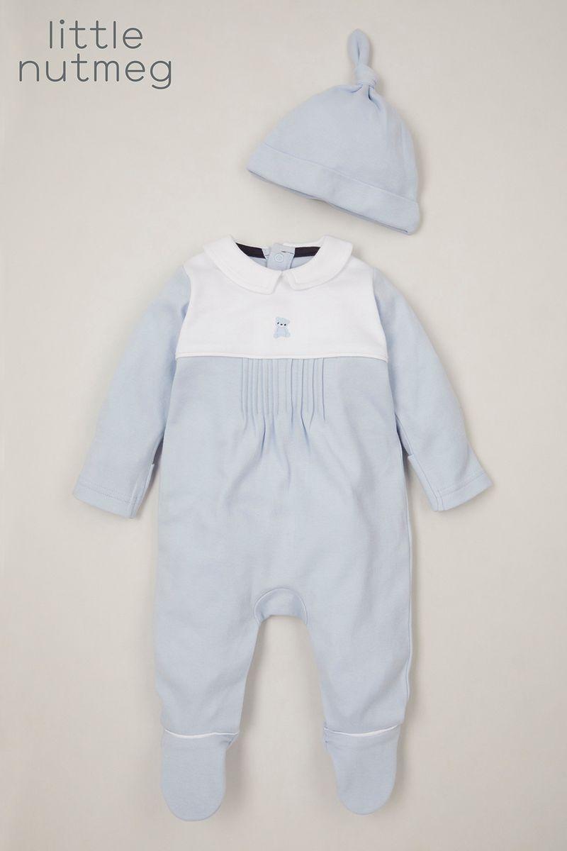 Little Nutmeg Blue Bear Sleepsuit & hat