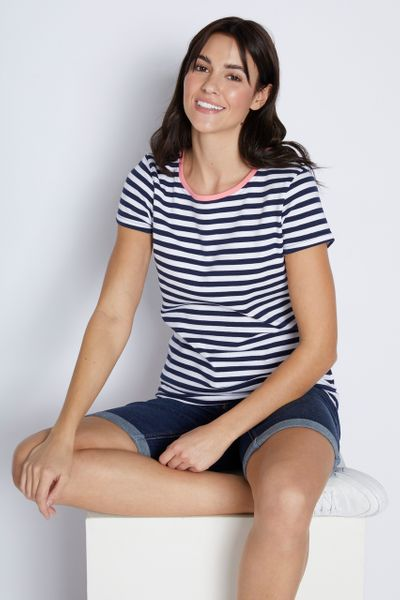 Navy & White Stripe Fitted T-shirt
