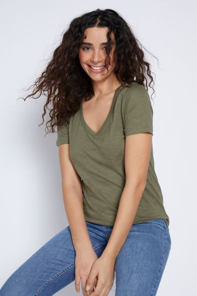 Short Sleeve Loose Fit Khaki T-shirt