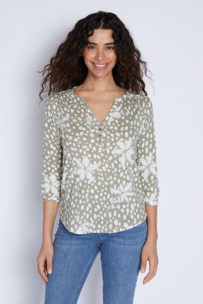 Floral Khaki Henley Shirt