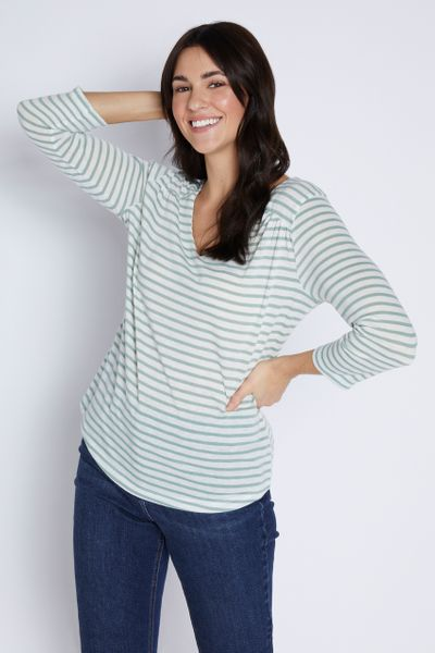 Sage Green Stripe Linen Top