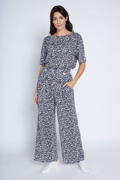 Navy Ditsy Floral Wide Leg Trousers