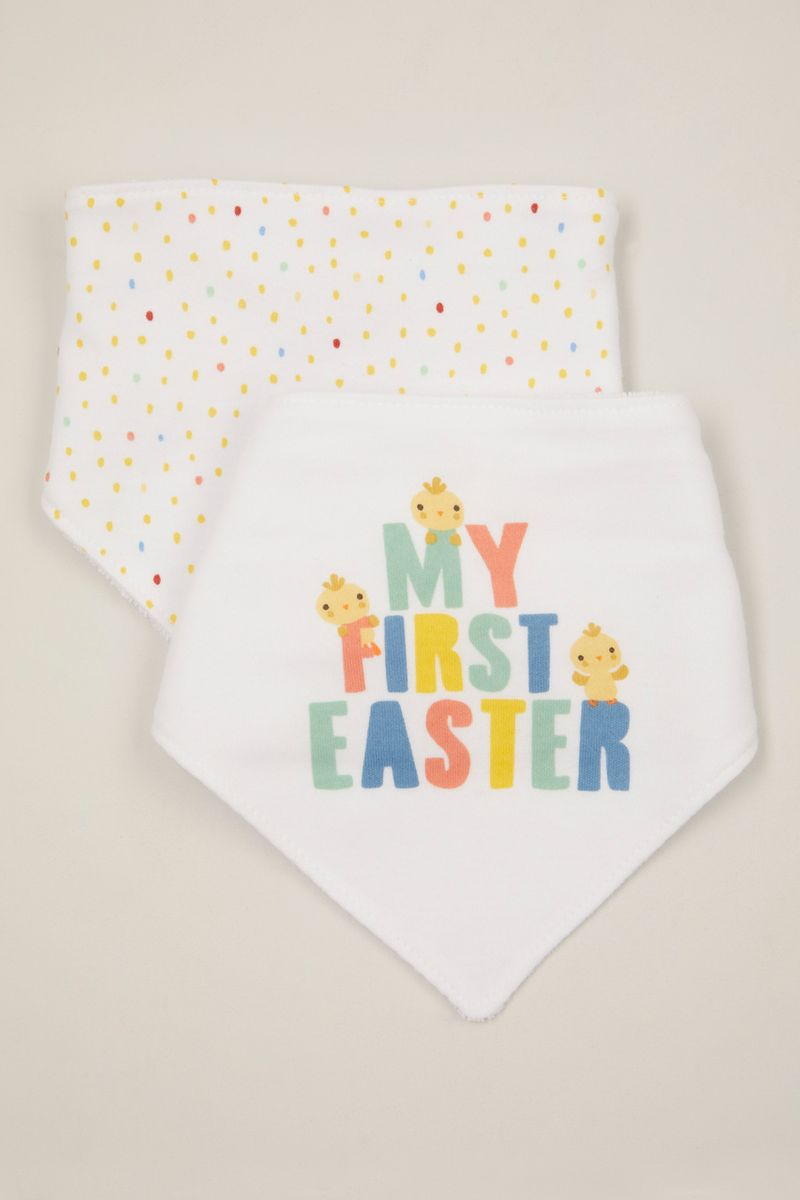 2 Pack My First Easter Bandana bibs