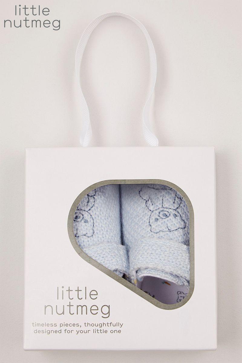 Little Nutmeg Blue Knitted Pram Shoes