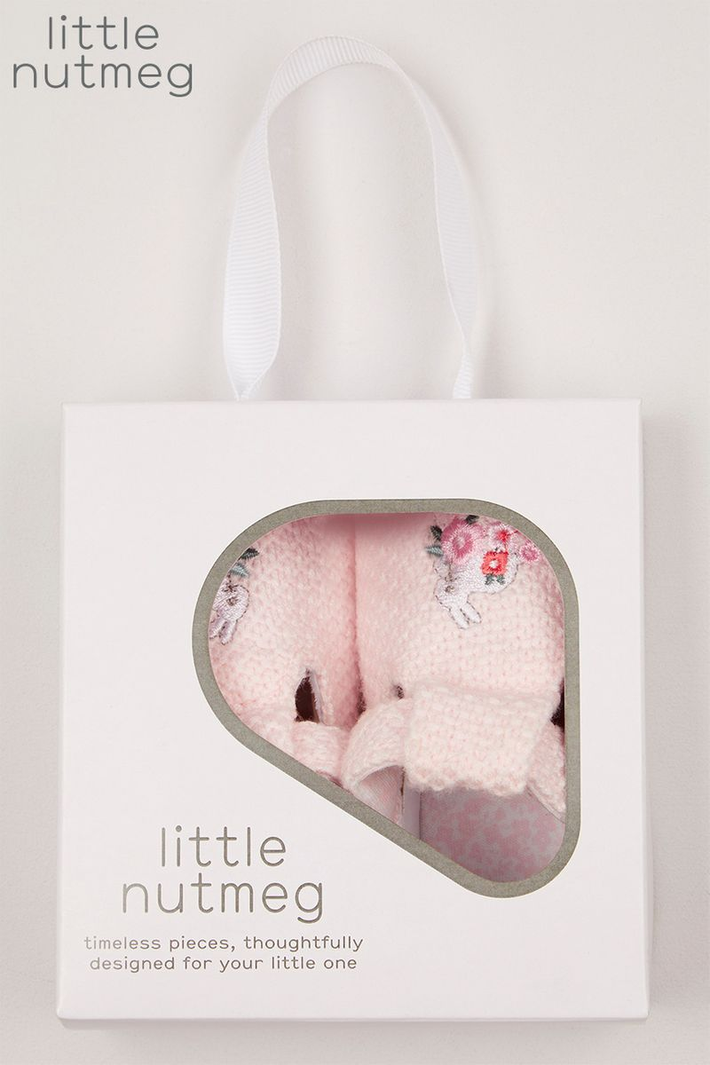 Little Nutmeg Pink Knitted Pram shoes