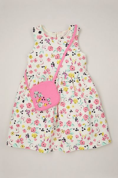 Flower Crepe Dress & bag 1-10yrs