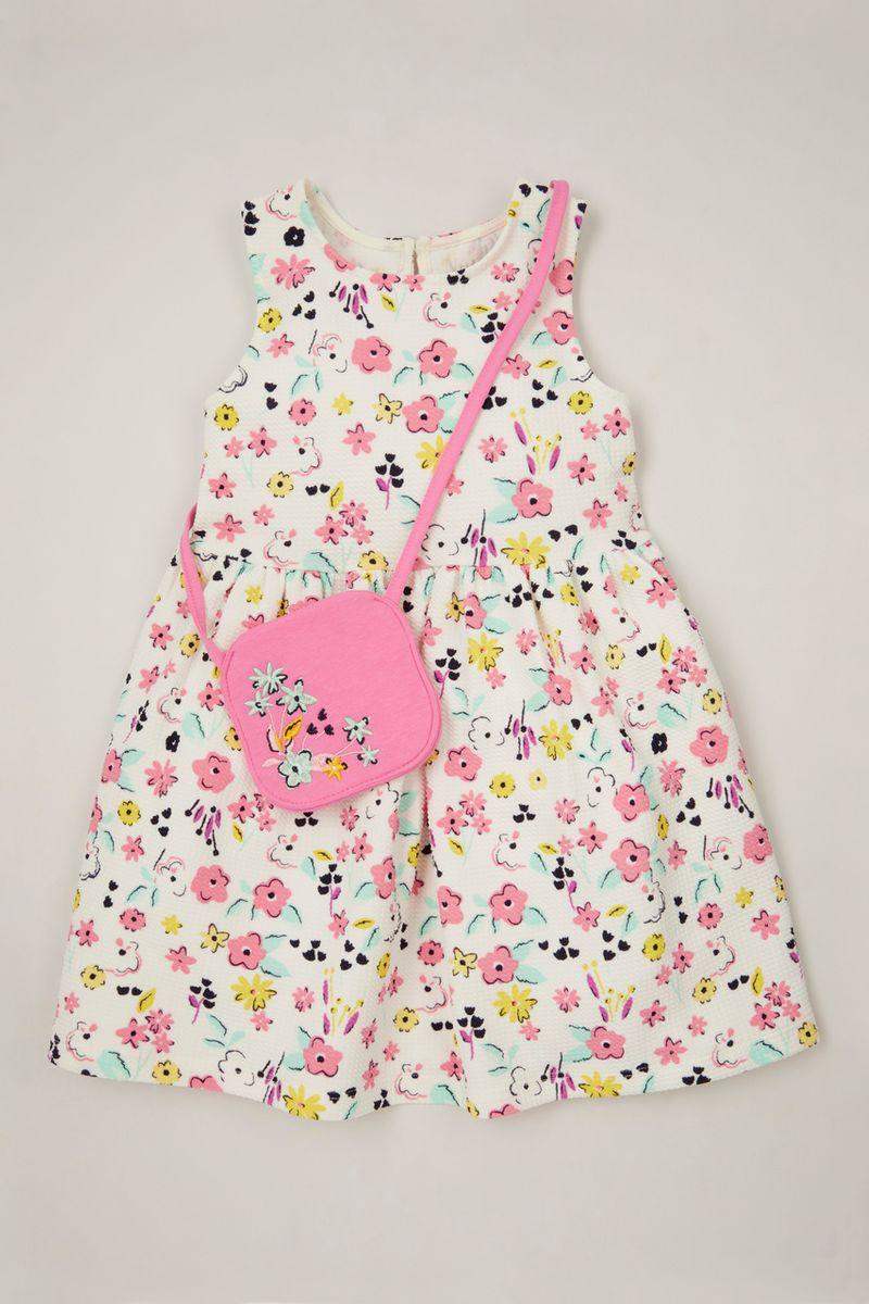 Flower Crepe Dress & bag 1-10yrs