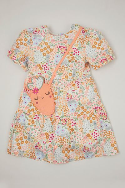 Flower Print Dress & Carrot bag