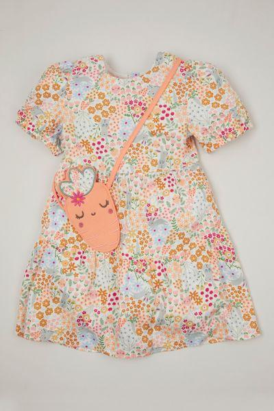 Flower Print Dress & Carrot bag