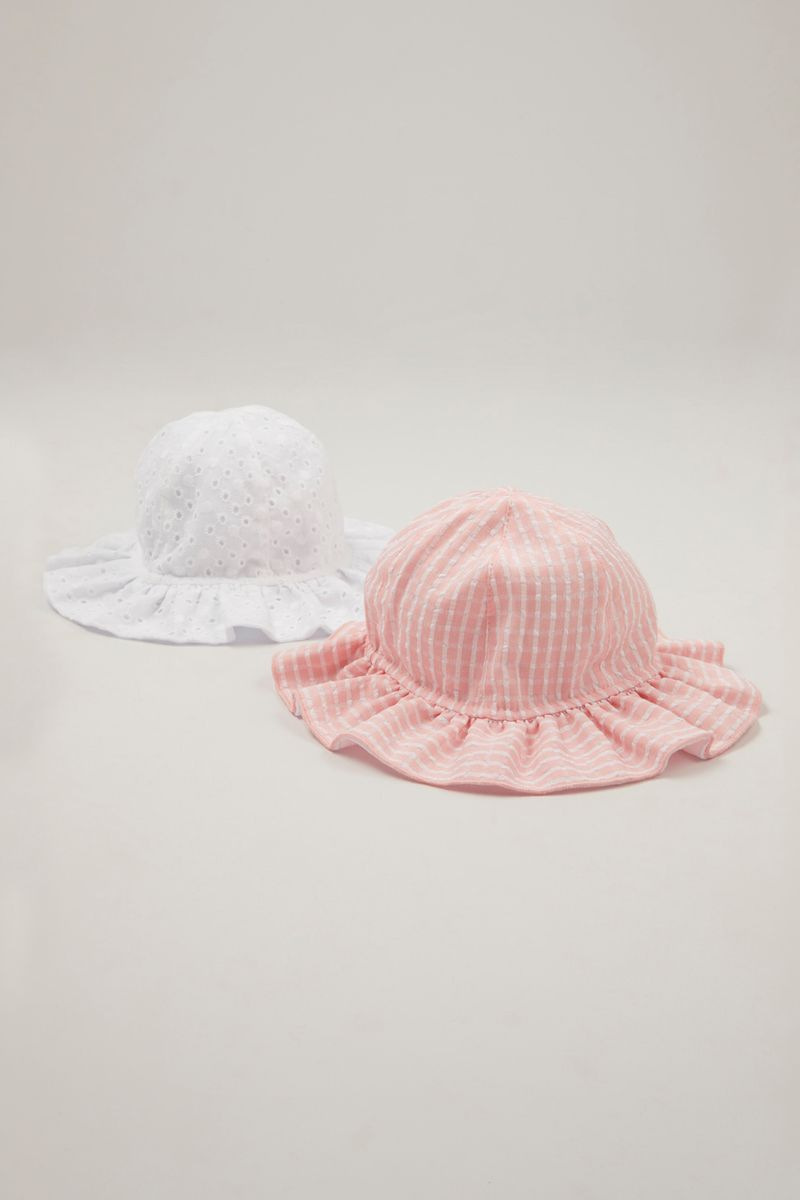 2 Pack Broiderie & Stripe Hats