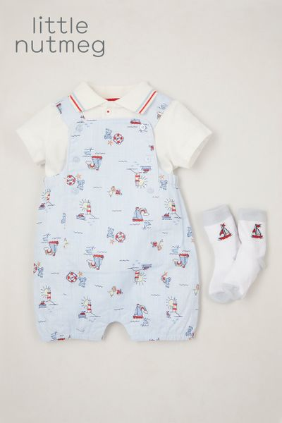 Little Nutmeg 3 Piece Boat Dungaree set