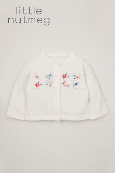 Little Nutmeg White Embroidered cardigan