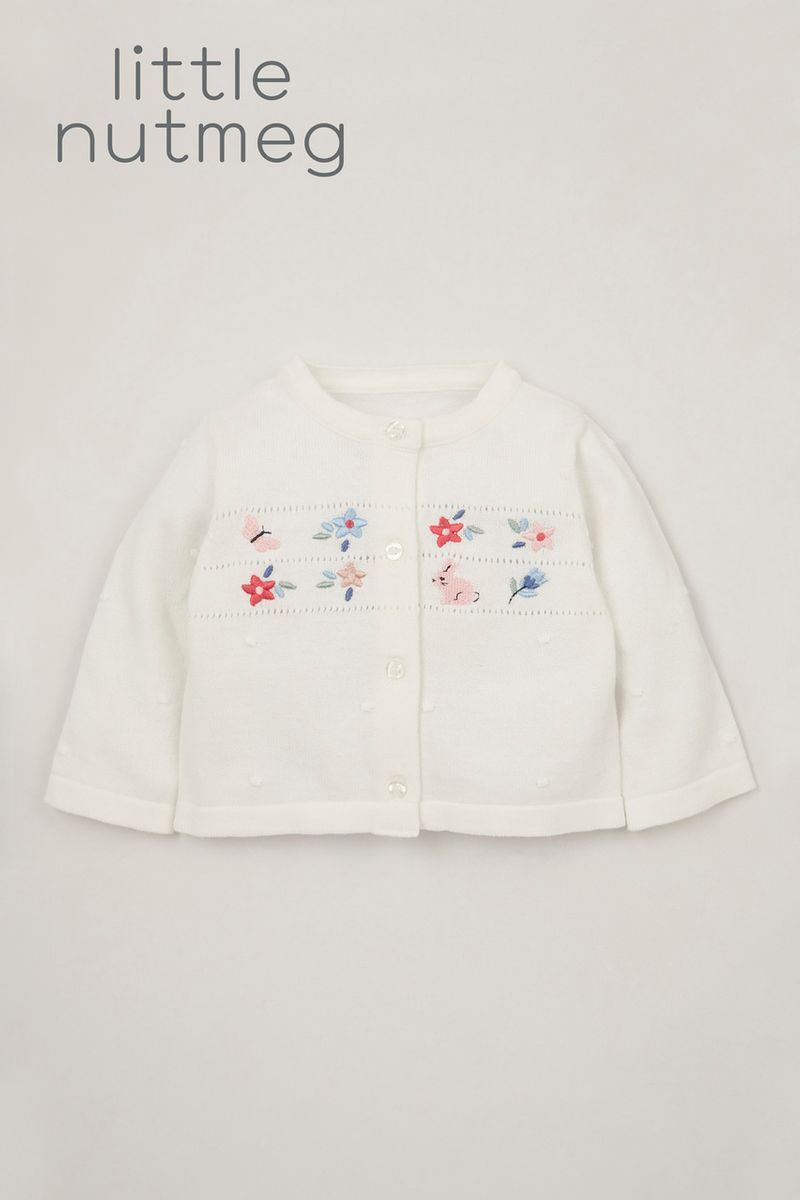 Little Nutmeg White Embroidered cardigan