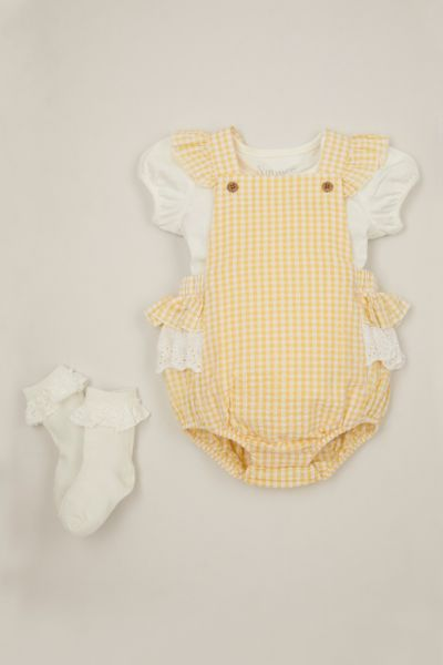 3 Piece Yellow Gingham Romper Set