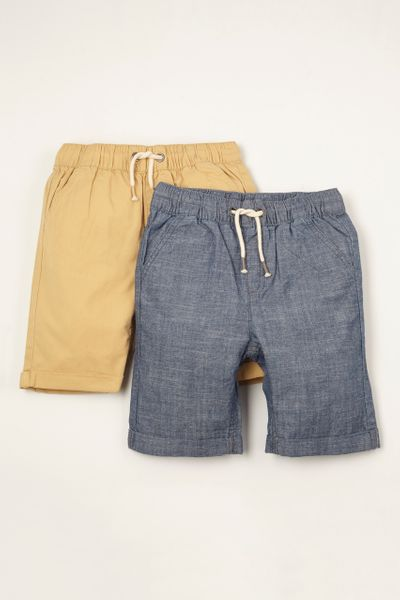 2 Pack Chambray & Sand Chino Shorts 1-14yrs