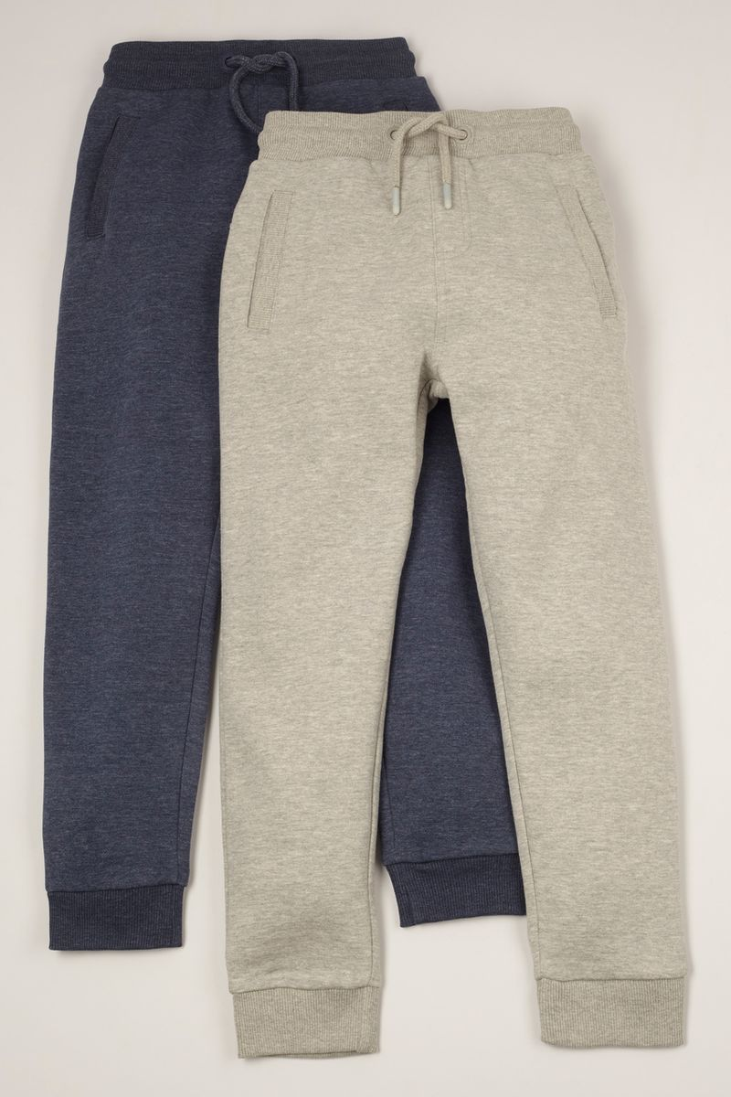 2 Pack Grey Marl & Blue Joggers 1-14yrs