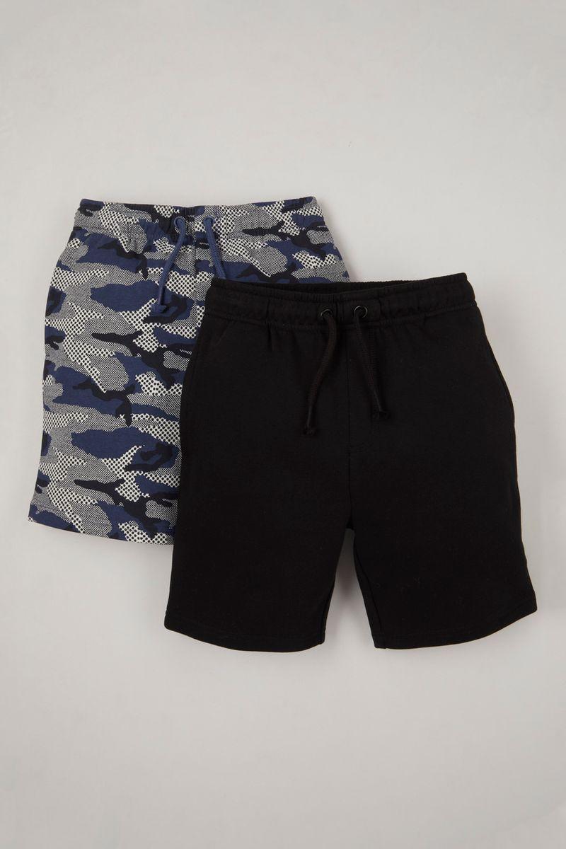 2 Pack Camo & Black Sweat Shorts