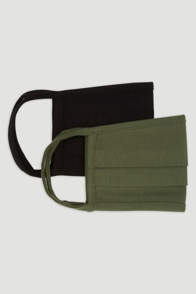 2 Pack Black & Khaki Face Coverings