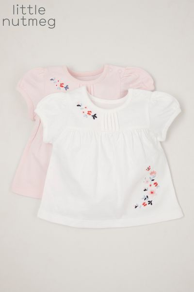 Little Nutmeg 2 Pack Embroidered Flower T-shirts