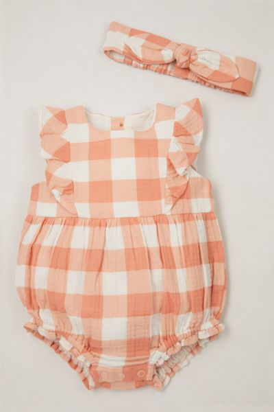Gingham Romper & headband