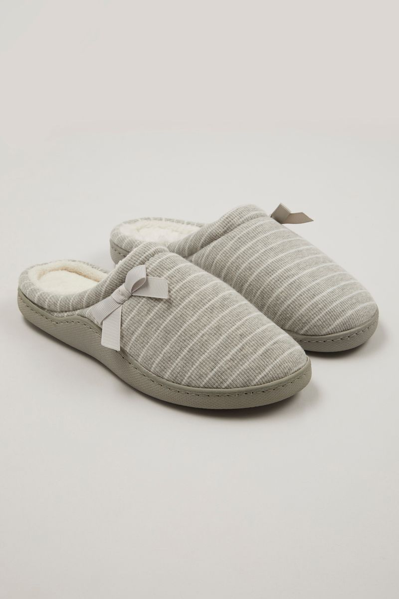 Grey Marl Stripe Cupsole Slippers