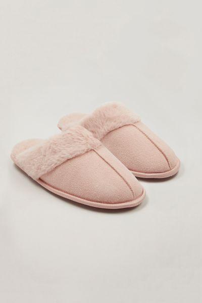 Pink Faux Fur Trim Mules
