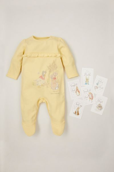Peter Rabbit Yellow Frill Sleepsuit with Baby Memory cards