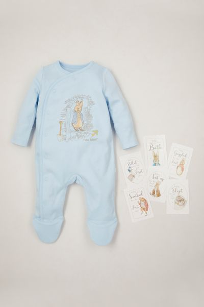 Peter Rabbit Blue Sleepsuit with Baby Memory cards