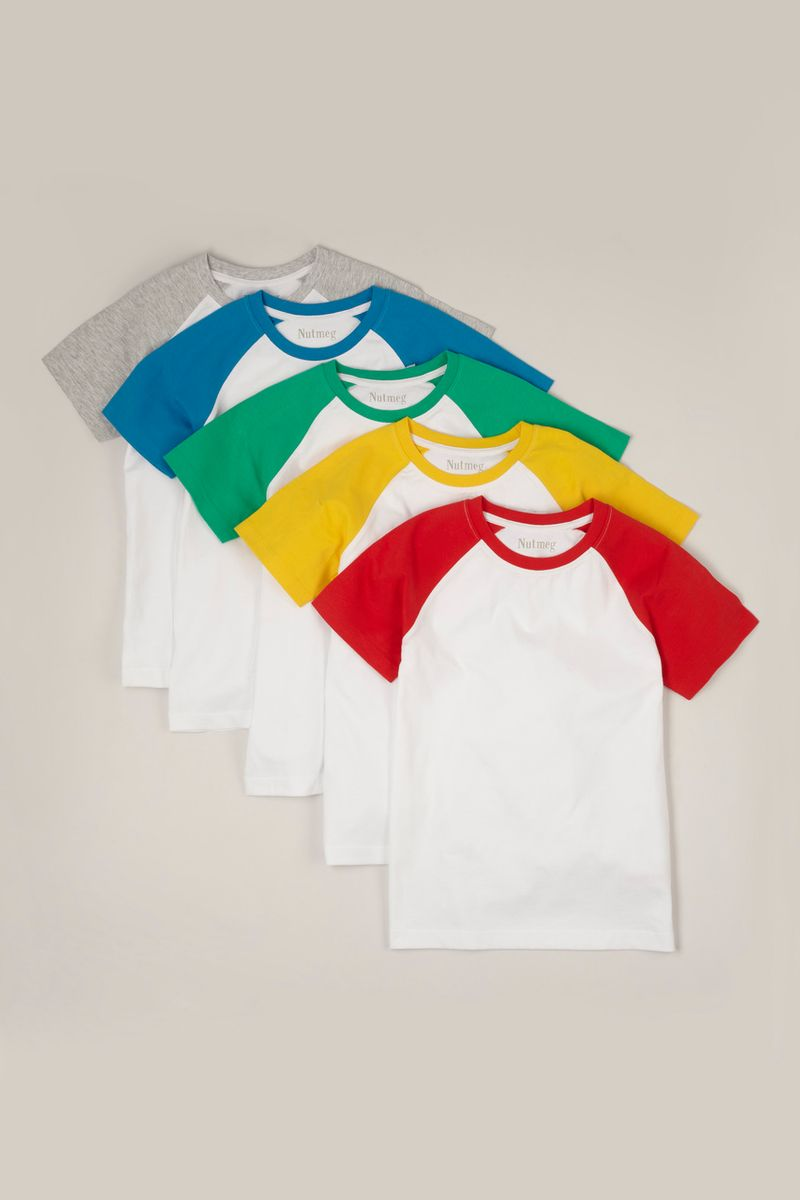 5 Pack Colourful Raglan T-shirts
