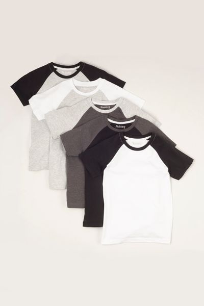 5 Pack Monochrome Raglan T-shirts 1-14yrs